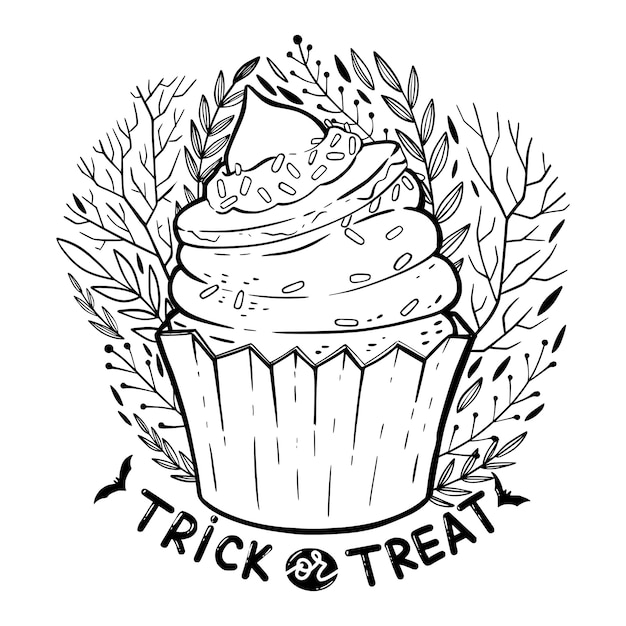 Cupcake di halloween con crema, cappello da strega, frase scritta: dolcetto o scherzetto e elementi floreali decorati. Vettore Premium
