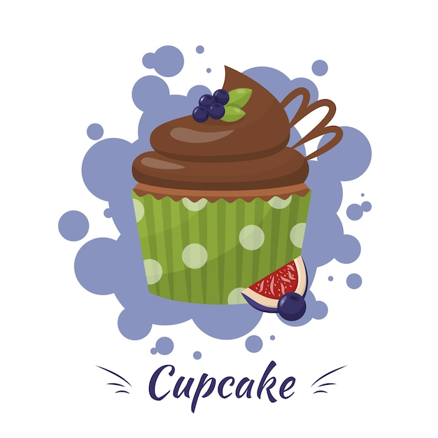 Cupcake glassato al cioccolato con mirtillo, pubblicità di fichi Vettore Premium