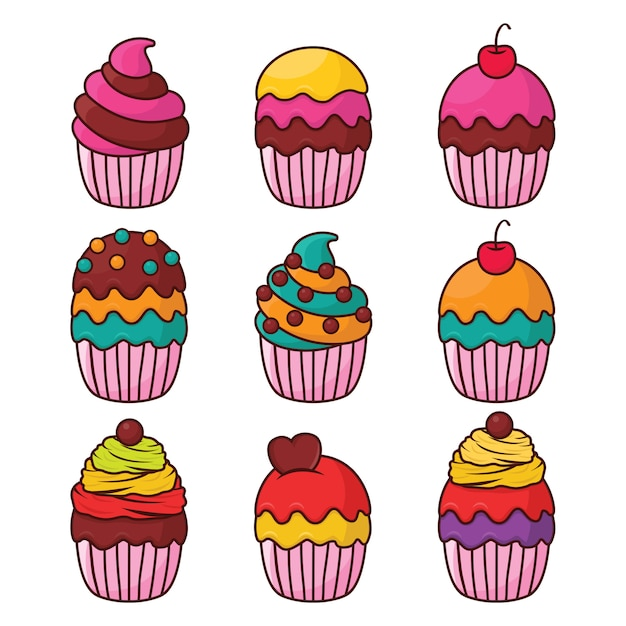 Cupcake illustrazione vettoriale Vettore Premium