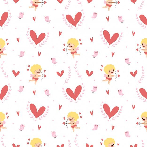 Cupido carino con cuori e un modello senza saldatura uccellino per san valentino Vettore Premium