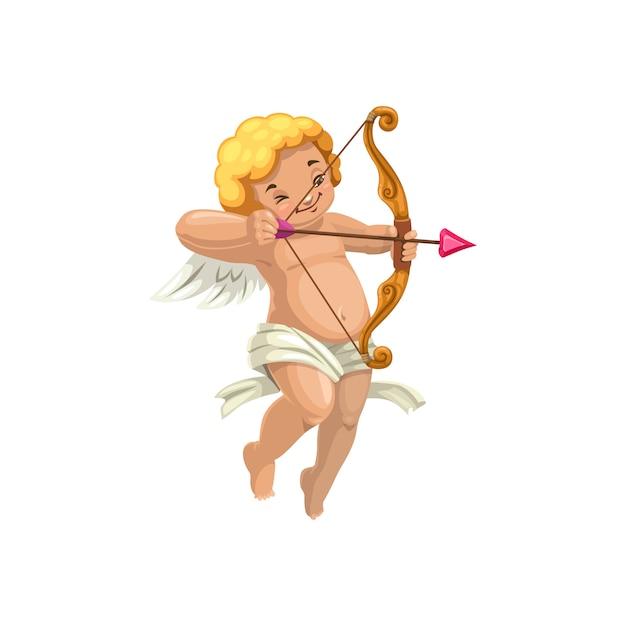 Cupido con arco e freccia, angelo isolato Vettore Premium