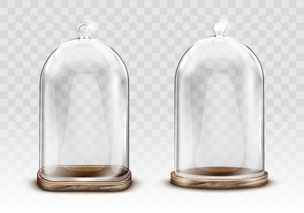 Cupola di vetro d'annata e vassoio di legno realistici Vettore gratuito