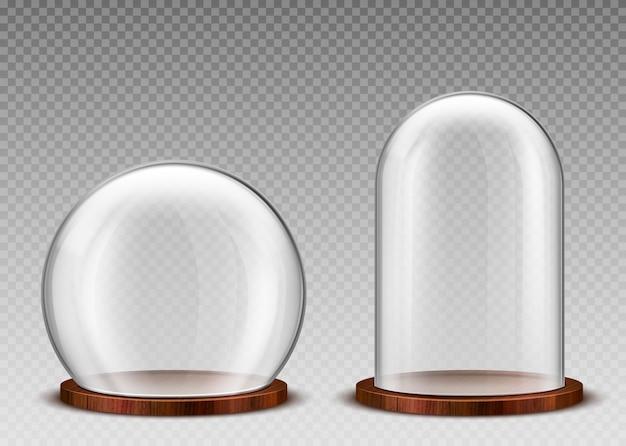Cupola di vetro vuota, chiaro campana di vetro sul podio in legno Vettore gratuito