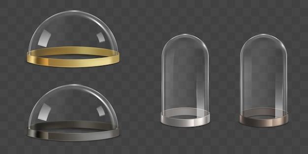 Cupole di vetro, insieme realistico di vettore di barattoli di campana Vettore gratuito
