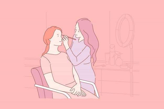 Cura, bellezza, trucco, concetto di depilazione. Vettore Premium