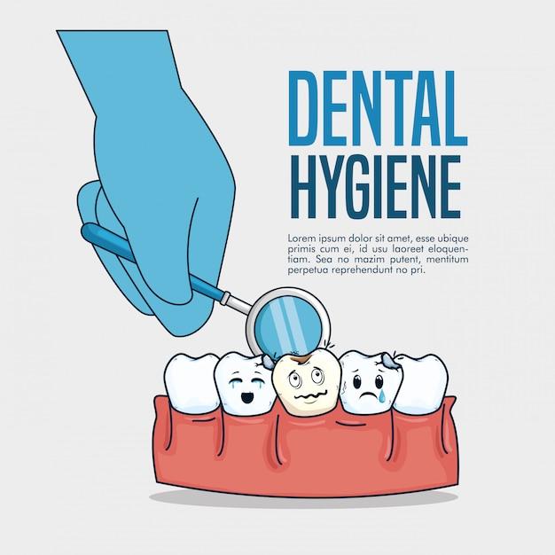 Cura dei denti e diagnosi dello specchio della bocca nella mano Vettore gratuito