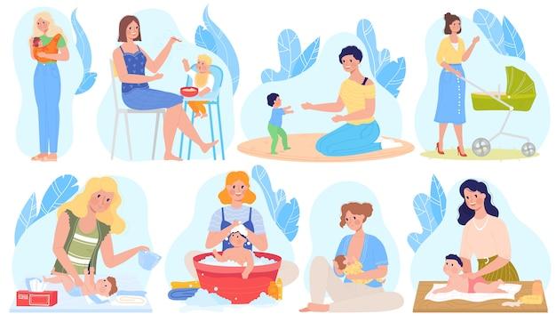 Cura del bambino, illustrazioni per l'allattamento al seno, set di cartoni animati con personaggio materno allattamento al seno, dando latte al neonato, alimentazione giocando Vettore Premium