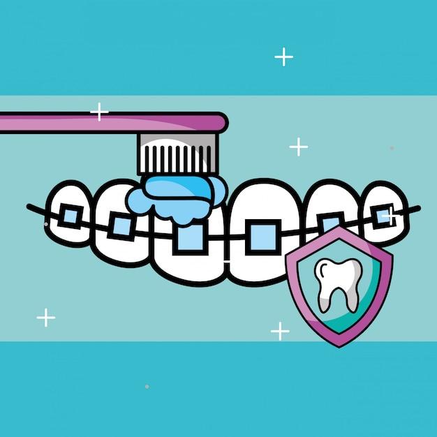 Cura ortodontica spazzolatura protezione scudo dente Vettore Premium