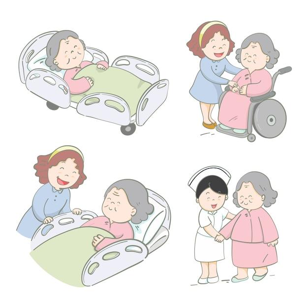 Cura paziente anziana di progettazione di carattere disegnata a mano dell'illustrazione Vettore Premium