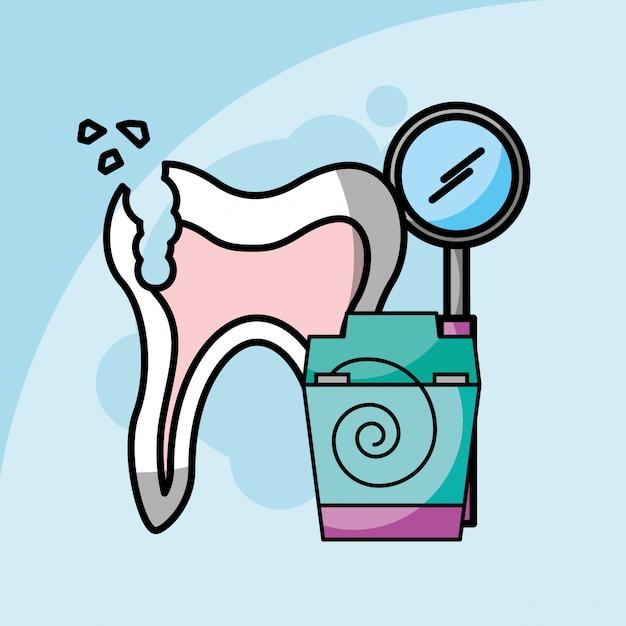 Cure odontoiatriche rotto il filo interdentale e l'odontoiatria strumentale Vettore Premium