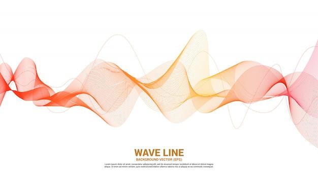 Curva di linea dell'onda sonora arancio su fondo bianco Vettore Premium