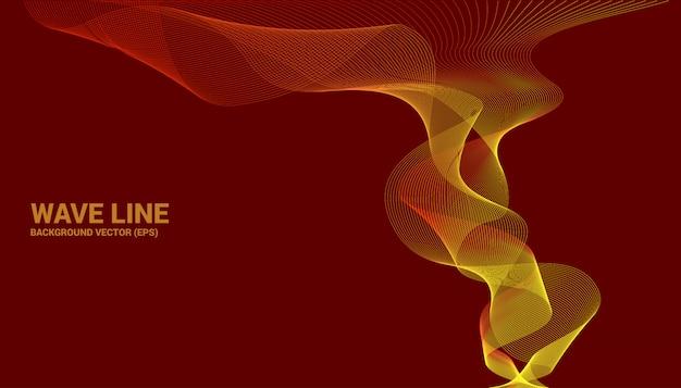 Curva di linea dell'onda sonora arancione su fondo rosso. Vettore Premium