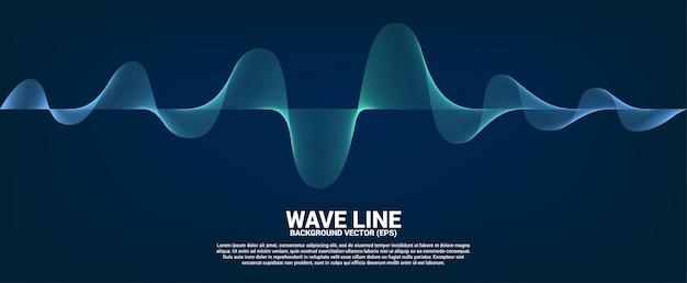 Curva di linea dell'onda sonora blu su sfondo scuro Vettore Premium