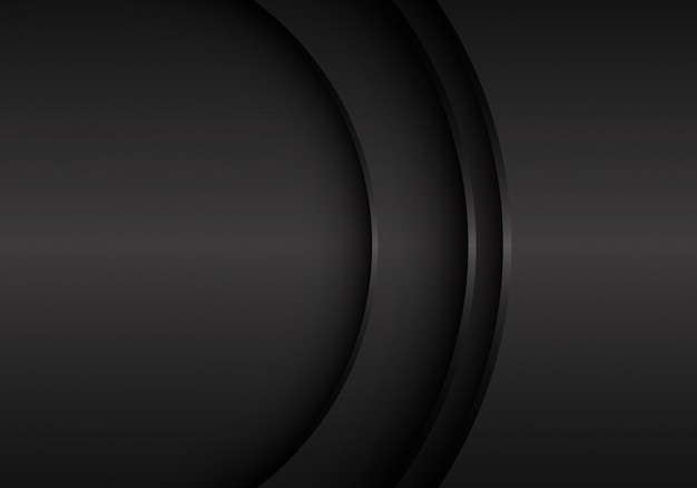 Curva di metallo nero con sfondo spazio vuoto. Vettore Premium