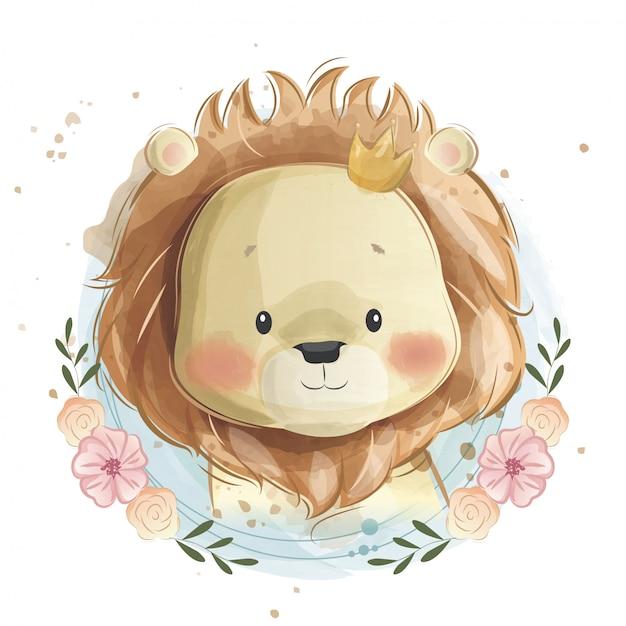 Cute baby lion portrait Vettore Premium