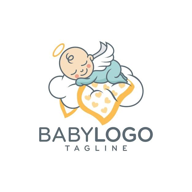 Cute baby logo design vettoriale Vettore Premium