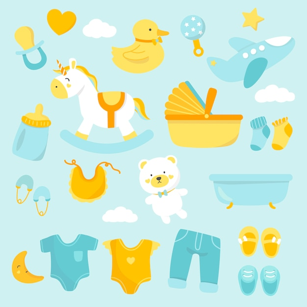 Cute baby nursery decoration Vettore gratuito