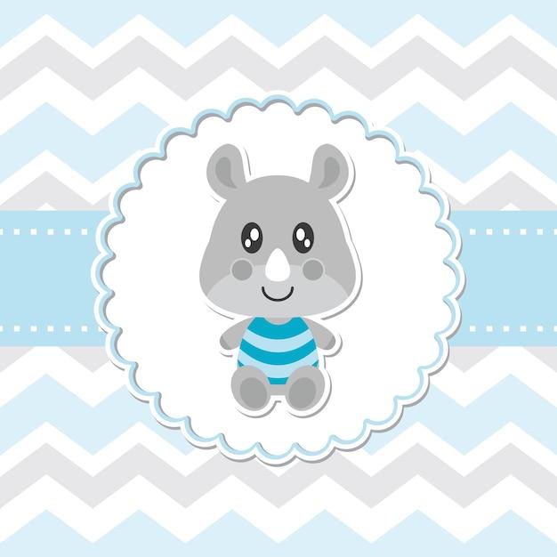 Cute baby rinoceronte sorrisi sulla illustrazione di cartone animato vettore della cornice del fiore per il disegno della carta dell'orso dell'orso del bambino, cartolina e carta da parati Vettore Premium