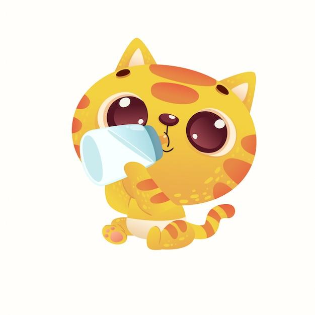 Cute baby shower cat Vettore Premium