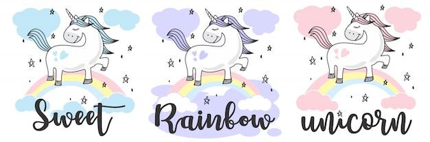 Cute baby unicorn doodle sketch Vettore Premium