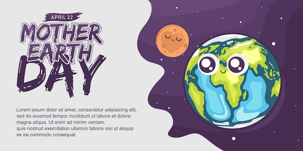 Cute banner for mother earth day Vettore Premium