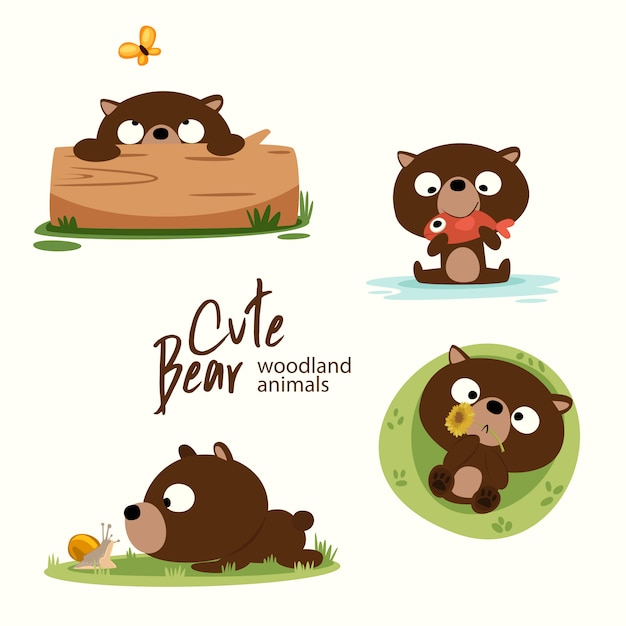 Cute bear woodland animals Vettore Premium