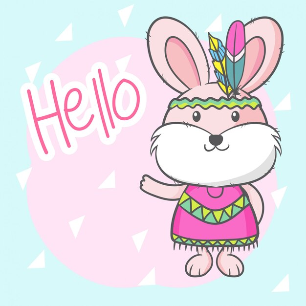 Cute cartoon bunny girl Vettore Premium