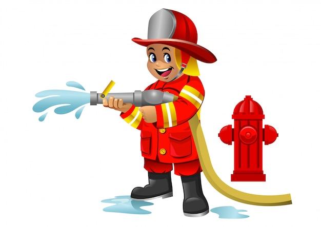 Cute cartoon kid of fire fighter Vettore Premium
