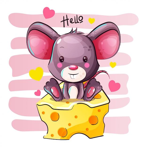 Cute cartoon mouse è seduto su un formaggio Vettore Premium