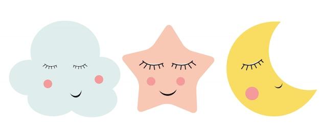 Cute cloud, star and moon Vettore Premium