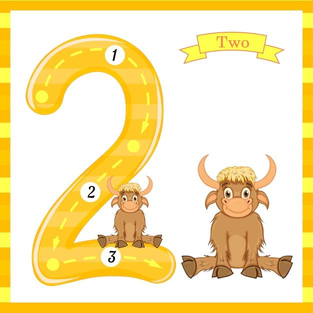 Cute kids flash numero due tracce con 2 tori per bambini che imparano a contare e scrivere. Vettore Premium