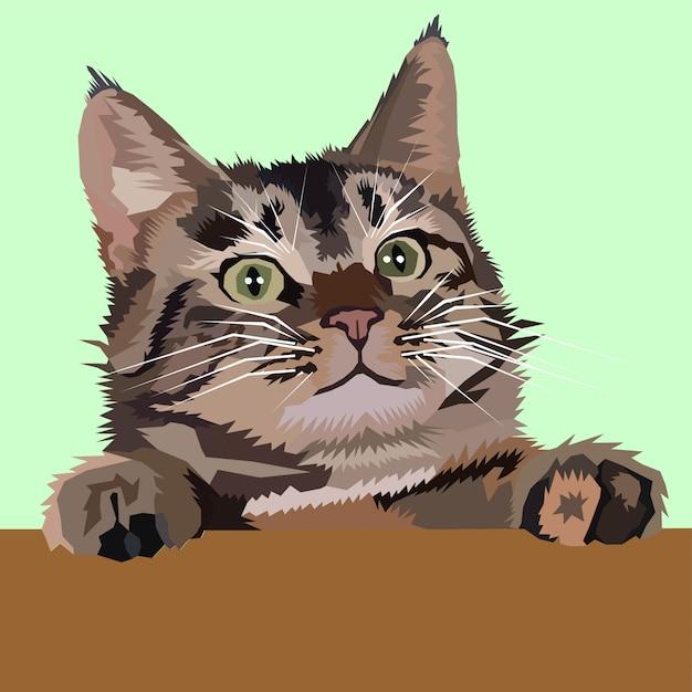 Cute kitten pop art vector Vettore Premium
