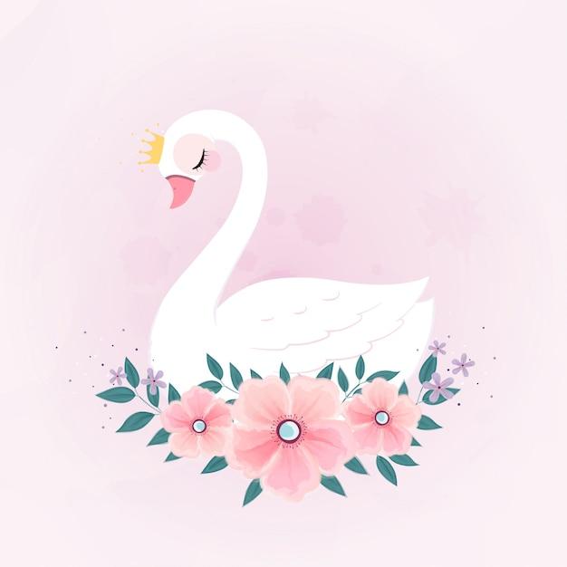 Cute little princess swan con bouquet di fiori. Vettore Premium