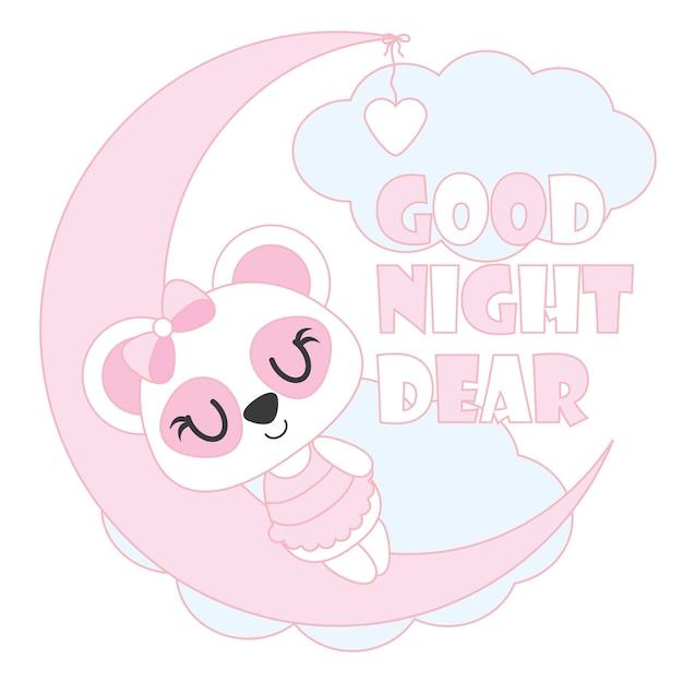 Cute Panda Del Bambino Dorme Sull Illustrazione Del Fumetto Di