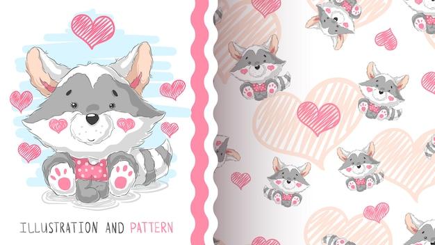 Cute teddy procione - idea per la t-shirt stampata Vettore Premium