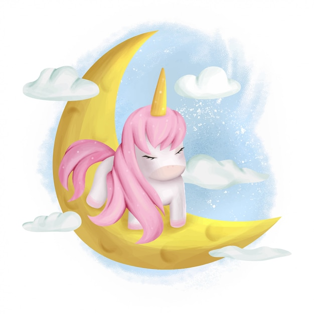 Cute unicorn baby in the moon Vettore Premium
