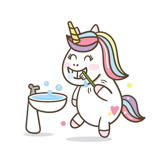 Cute unicorn brushing teeth cartoon Vettore Premium