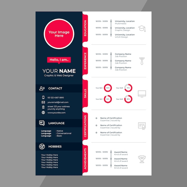 Cv / riprende la progettazione con icone di linea Vettore Premium