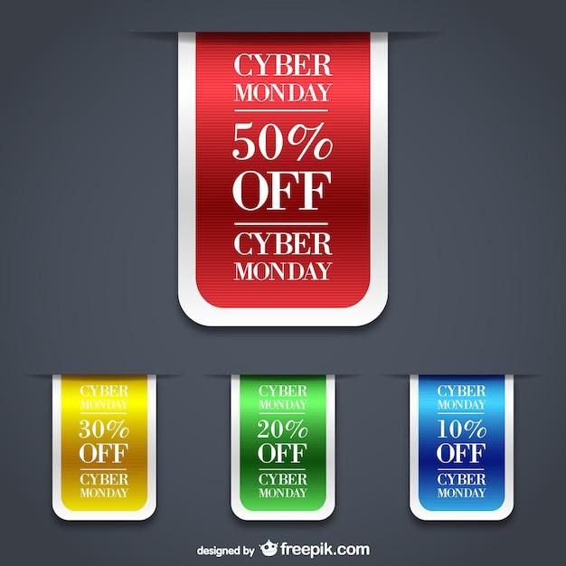 Cyber lunedì etichette di vendita Vettore gratuito