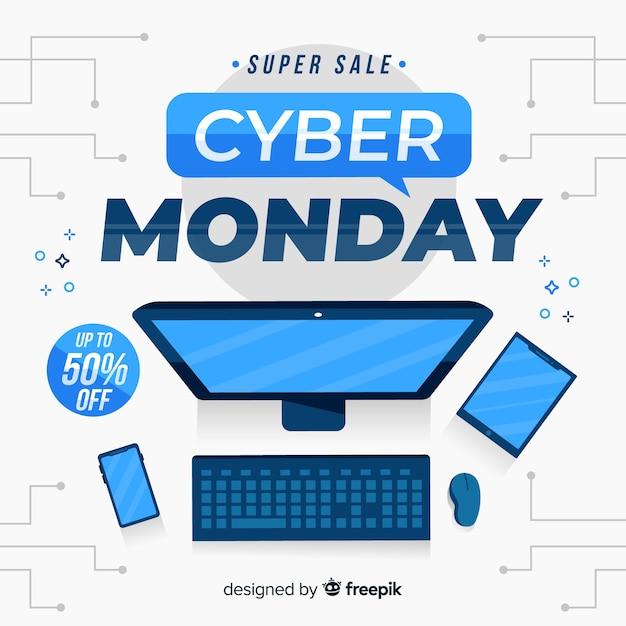 Cyber lunedì su design piatto Vettore gratuito