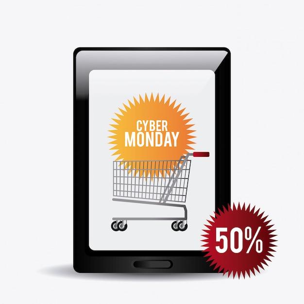 Cyber monday stagione dello shopping Vettore gratuito