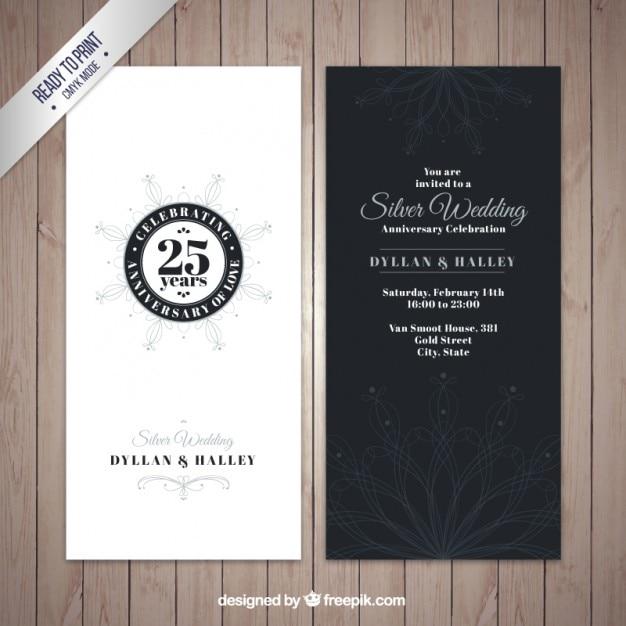 Inviti Anniversario Di Matrimonio Gratis.D Argento Elegante Invito Anniversario Di Matrimonio Vettore Gratis