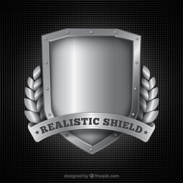 D'argento realistico scudo sfondo Vettore gratuito