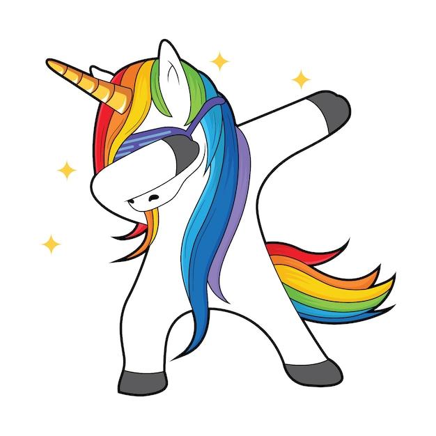 Dabbing unicorno con stelle Vettore Premium