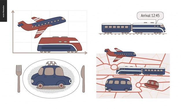 Dal punto a al punto b. trasporto in auto, treno, aereo Vettore Premium