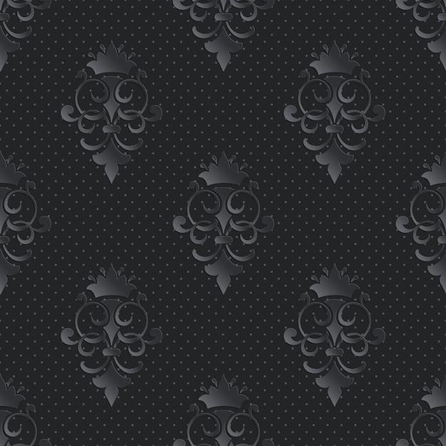 Damascato ornamentale seamless pattern scuro Vettore gratuito