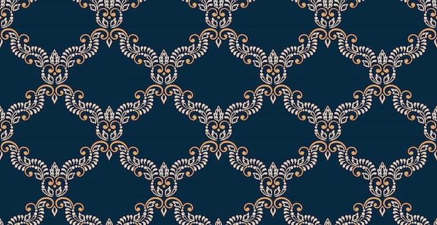 Damasco senza cuciture in rilievo. ornamento di damasco antico di lusso classico, trama senza soluzione di continuità vittoriana reale. modello barocco floreale squisito vintage. Vettore gratuito
