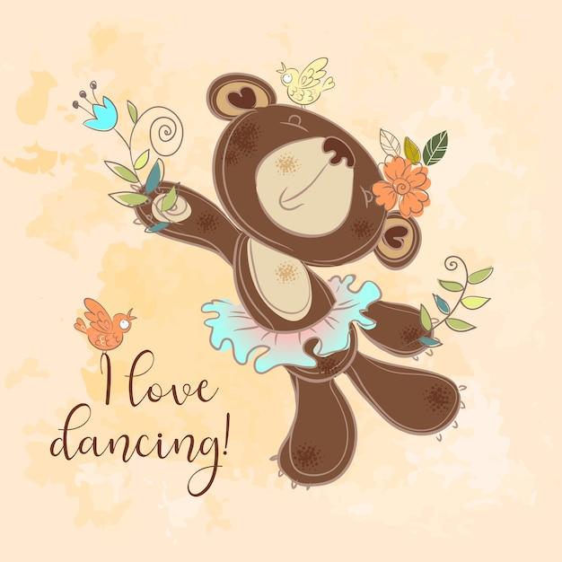Dancing bear in un tutù Vettore Premium