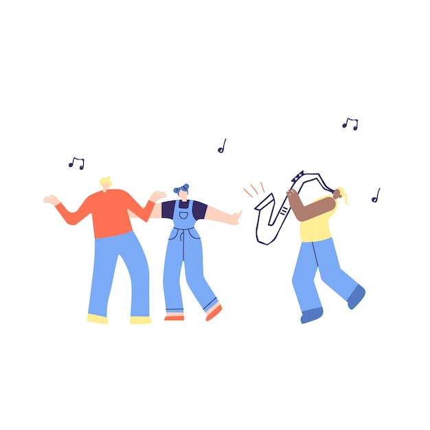 Dancing music people and saxophone illustration Vettore gratuito