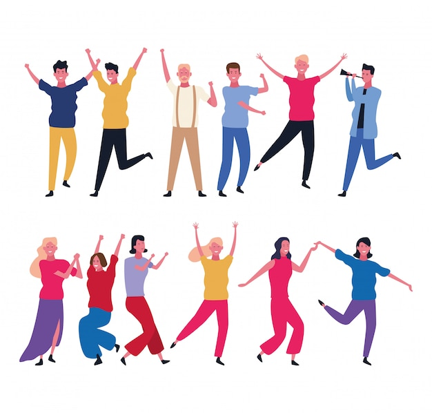 Dancing people avatar Vettore Premium